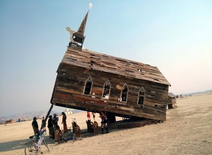 The Church Trap at the Burning Man Festival, Black Rock, Nevada, USA, August 2013. (source: The Atlantic)